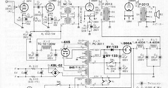 vacuum tube schematics  se da100  6j5