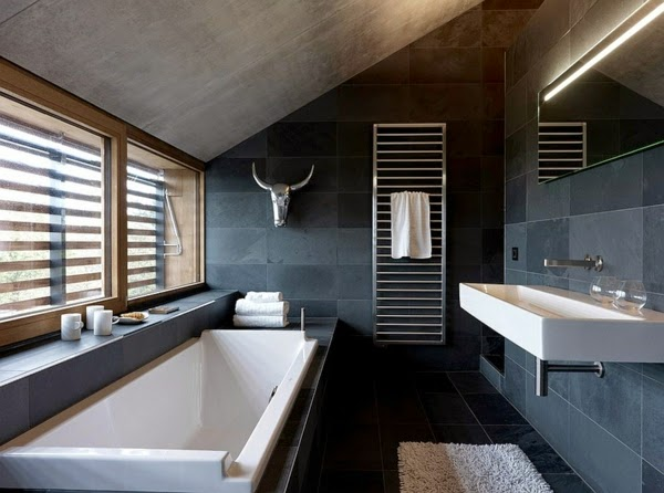 17 Modern luxury bathroom designs, Black gray color schemes