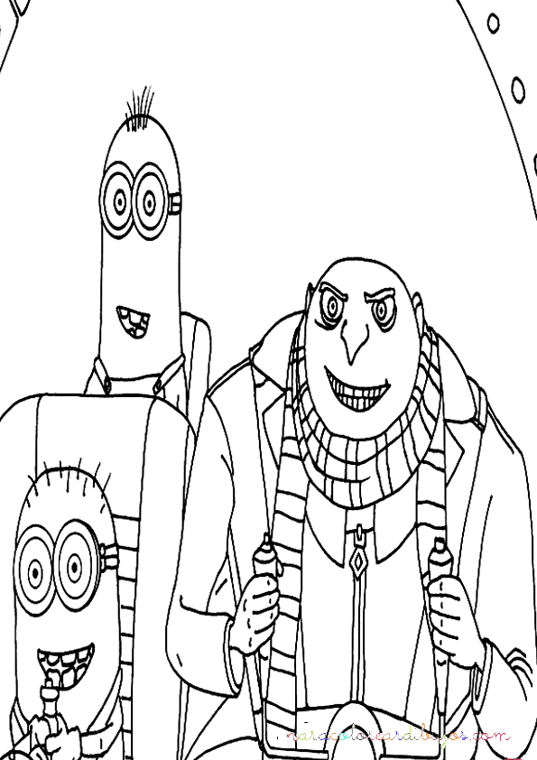 dibujo de gru dave y stuart los minions