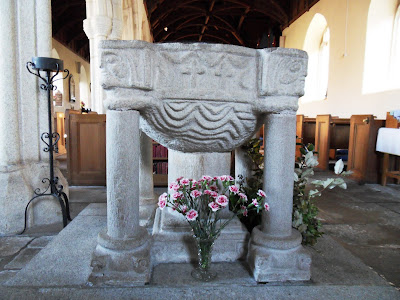 Font at Veryan church, Cornwall