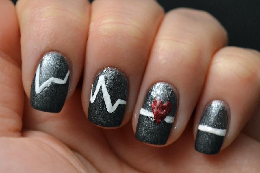 Line Art Nails : Glitter and gloss nails valentine s day nail art