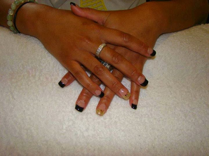 Black French acrylics gold feats random crystals-LED-polish-manicure-natural-nails-classic-French-pink-crystal-acrylics-simple-nail-art-gelish-colour-pink-silver-gel-OPI-Lacquer-Pedicure-care-natural-health-beauty