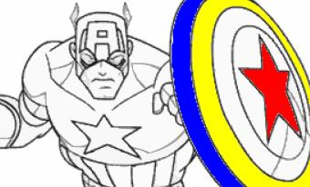 Game tô màu Captain American, chơi game to mau online