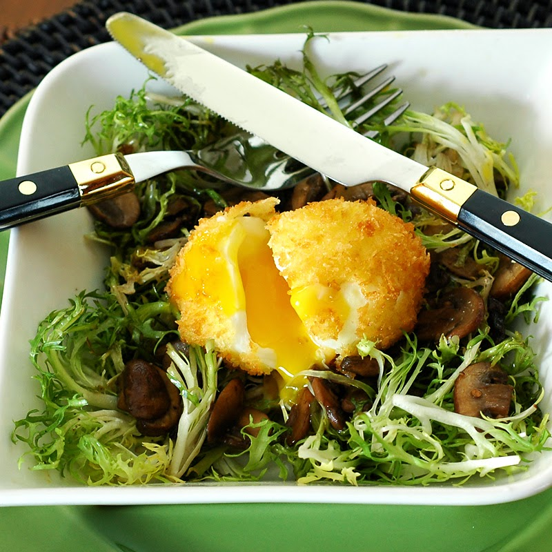 Oeuf Mollet (Soft Egg) Salad with Mushrooms