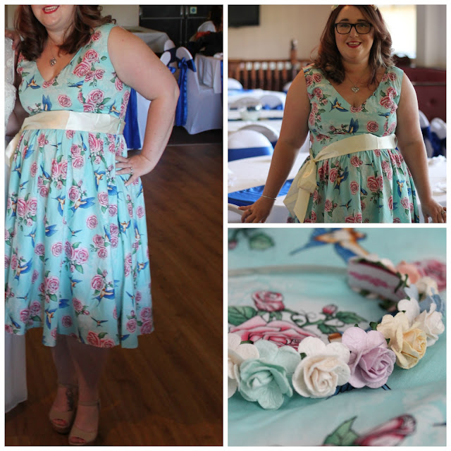 outfit post Hell Bunny Turquoise Lacey 1950's Vintage Dress and pastel flower hairband