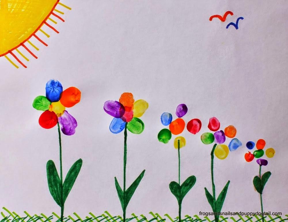 finger print flowers munchkins and mayhem