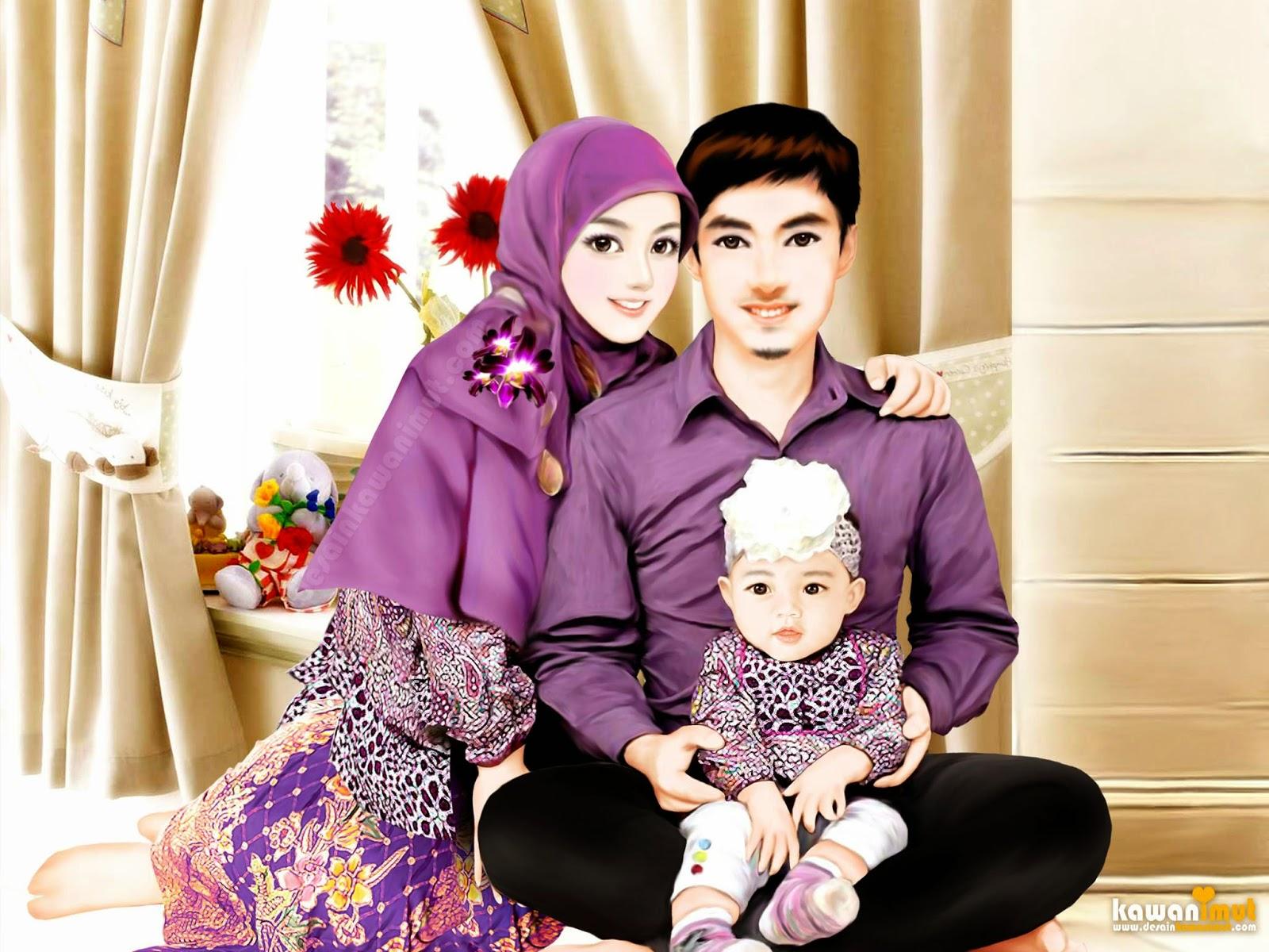 Kartun Muslim Sepasang Kekasih