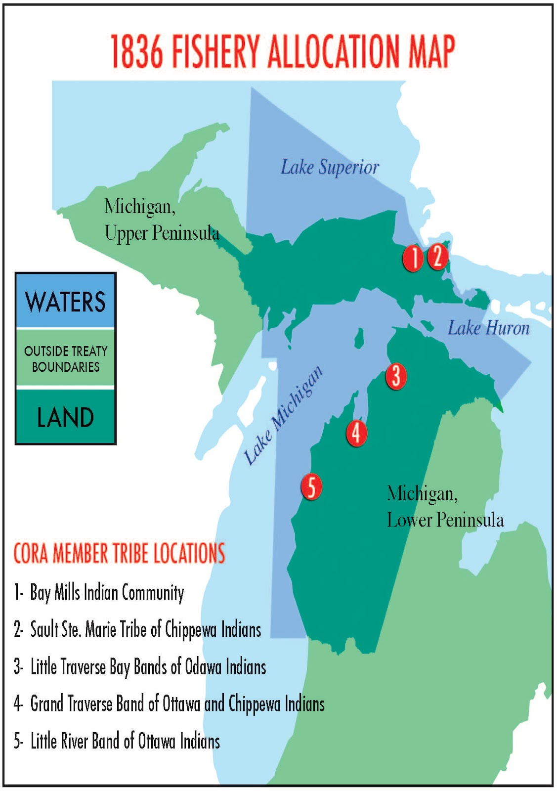 Pictured Tribal Treaty Waters And Locations Of Cora Tribes Courtesy Of The Chippewa Ottawa Resource Authority And Used With Their Permission
