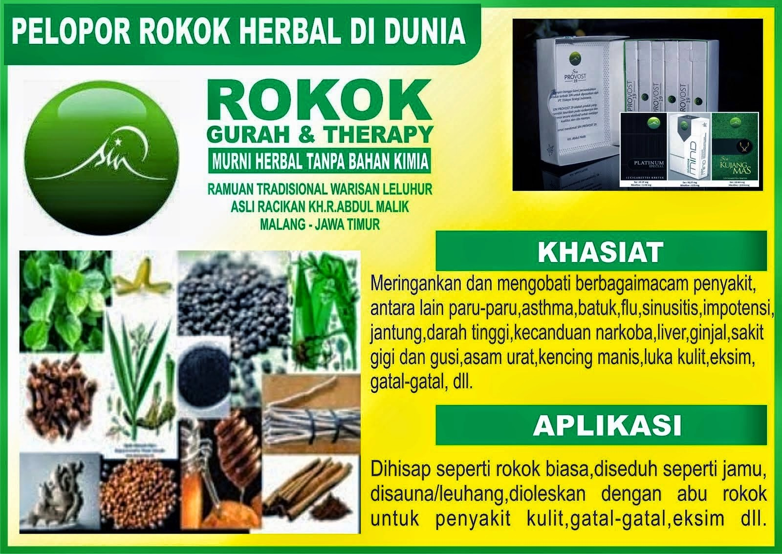 ROKOK HERBAL GURAH DAN TERAPI