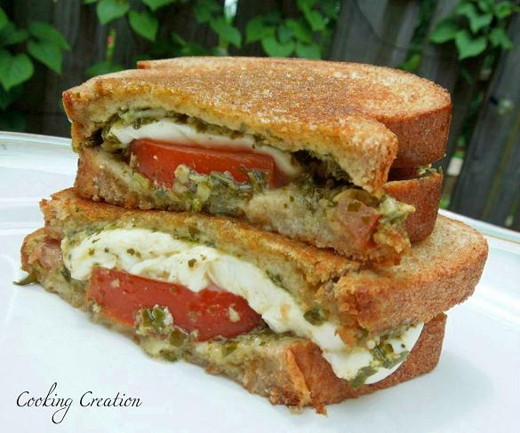 Cooking Creation: Caprese Grilled Cheese Sandwich with Basil Pesto