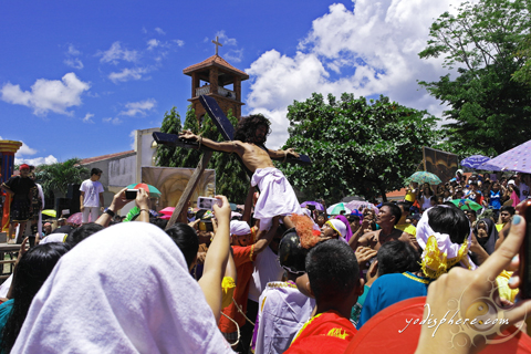 Re-enactment of the crucifixion during Lenten Season