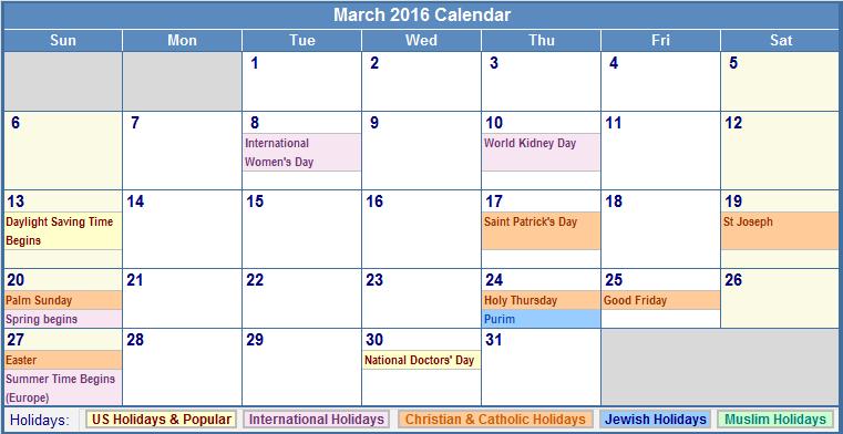2016 Calendar with US Holidays Free, March 2016 Printable Calendar ...