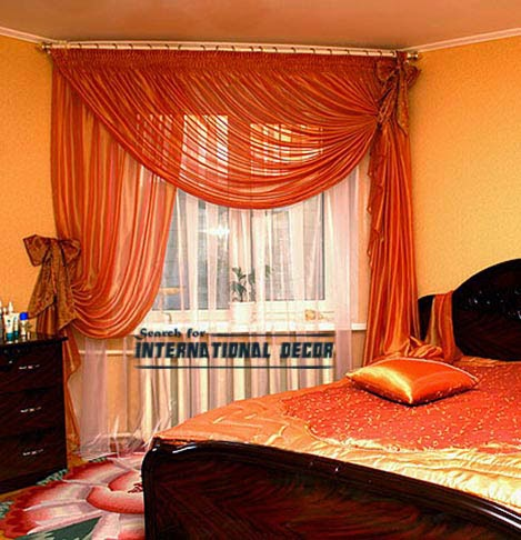 orange curtains,bedroom curtains,window treatments,curtain ideas and designs