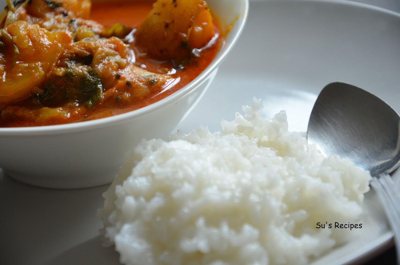 easy potato curry, simple potato curry, potato curry with thai rice, jasmine rice, chinese rice, glutaneous rice with curry, potato curry
