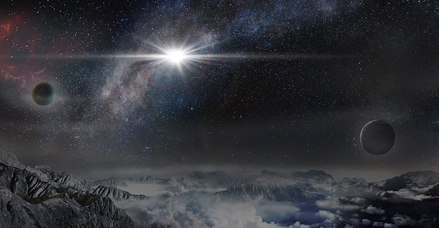 An artist's impression of the record-breakingly powerful, superluminous supernova ASASSN-15lh as it would appear from an exoplanet located about 10,000 light years away in the host galaxy of the supernova. (Credit: Beijing Planetarium / Jin Ma)