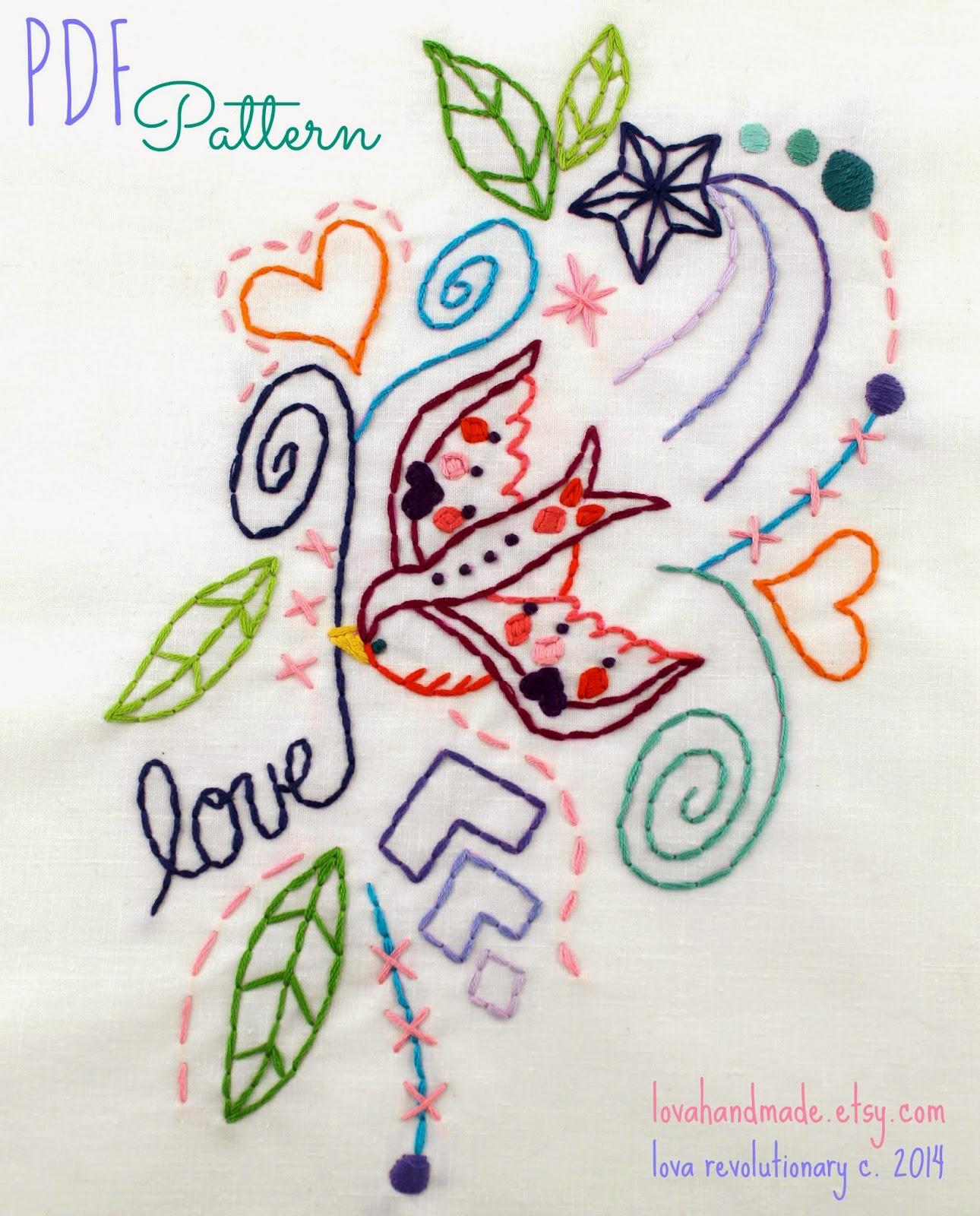 Lova Revolutionary  Blog Love Bird PDF Hand Embroidery