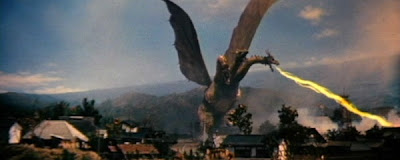 Ghidorah, The Three-Headed Monster destroying the city