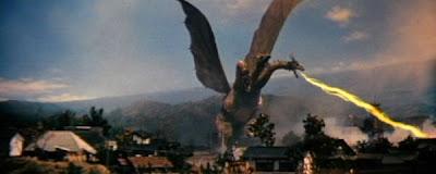 Ghidorah, The Three-Headed Monster destroying the city