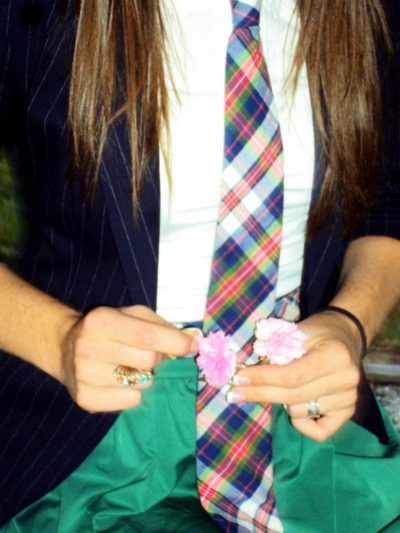 green plaid tie. blue plaid tie and from