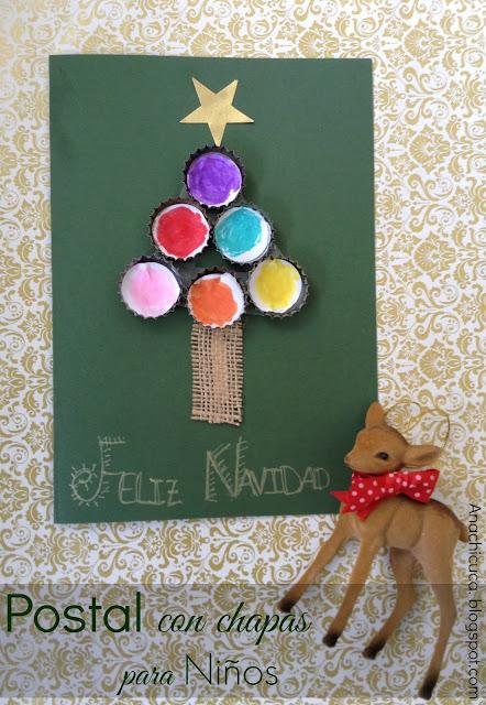Tarjeta de navidad con pino de chapas