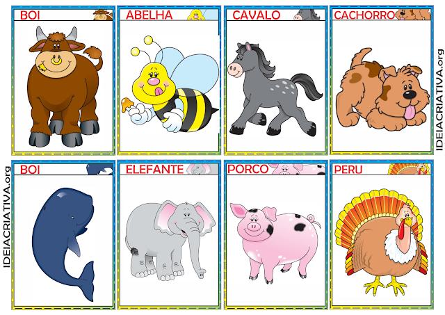 Atividade Lúdica de Discriminação Auditiva com Sons de Animais para Baixar e Flash Cards