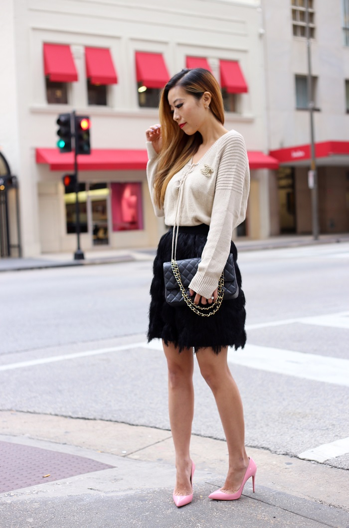 Banana Republic fringe knit mini, wilde heart last call sweater, chanel brooch, chanel classic flap bag, christian louboutin so kate heels, date night in dallas, date night outfit, holiday outfit, dallas blogger, nyc fashion blog