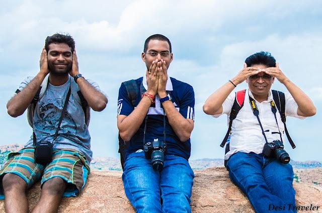 3 monkeys at birthplace of hanuman anegundi near hampi
