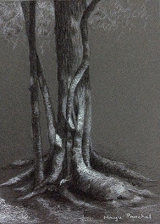 charcoal and white pastel pencil sketching of a tree by Manju Panchal