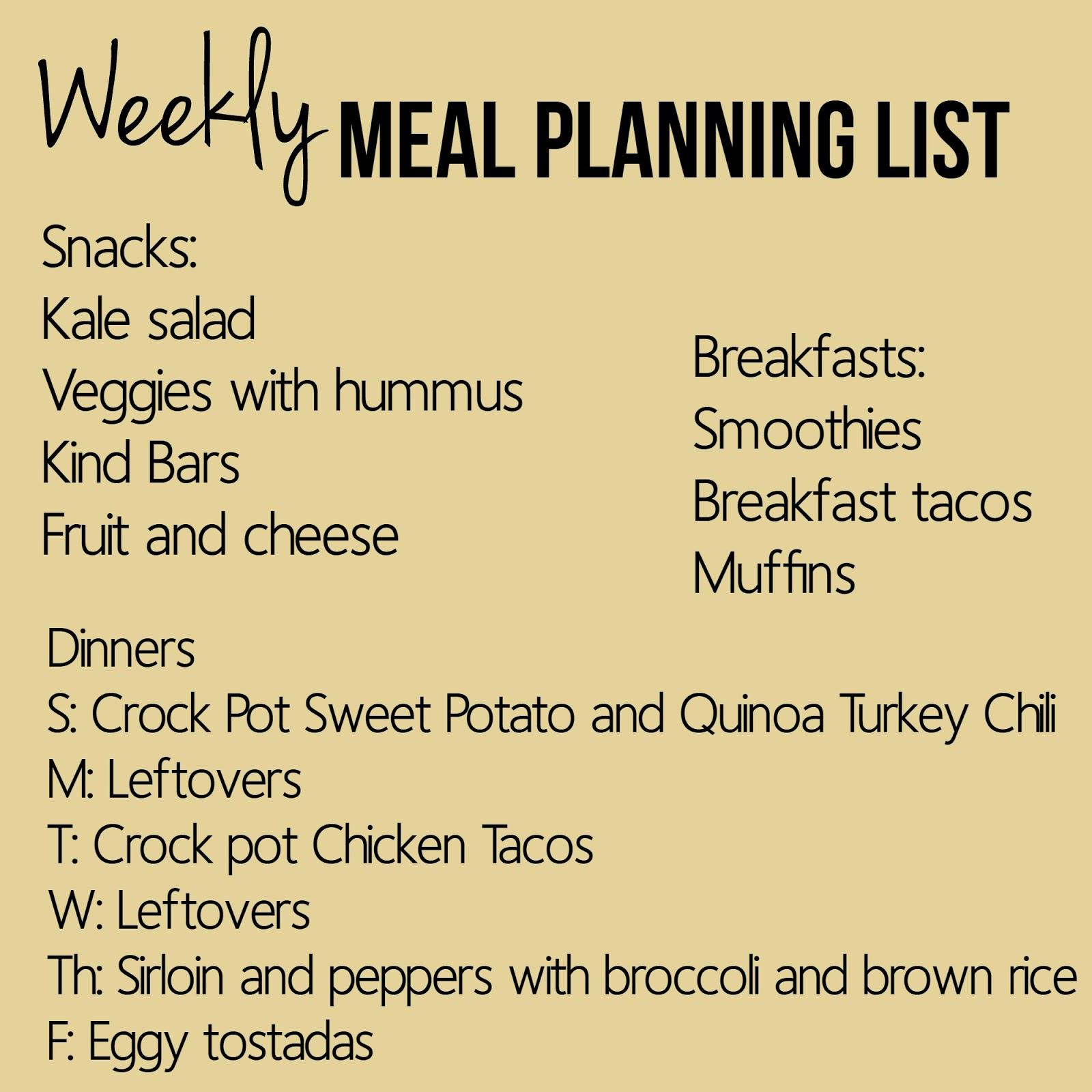 Weekly Meal Planning List | Bubbles and Gold (www.bubblesandgold.com)