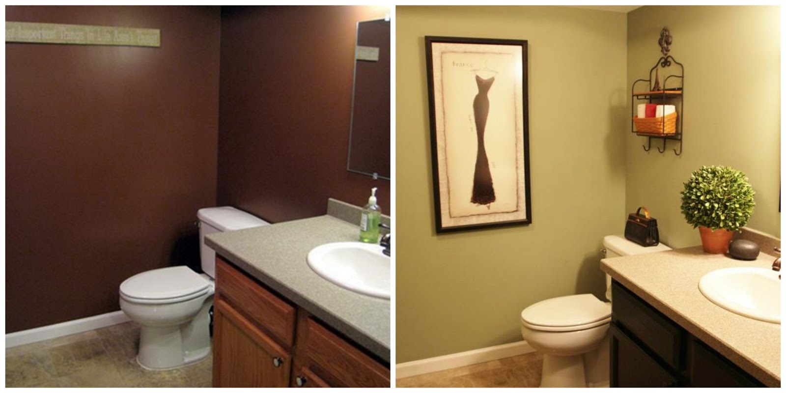 Weekly renovation series simple changes that make a huge difference - Painting bathroom cabinets brown ...