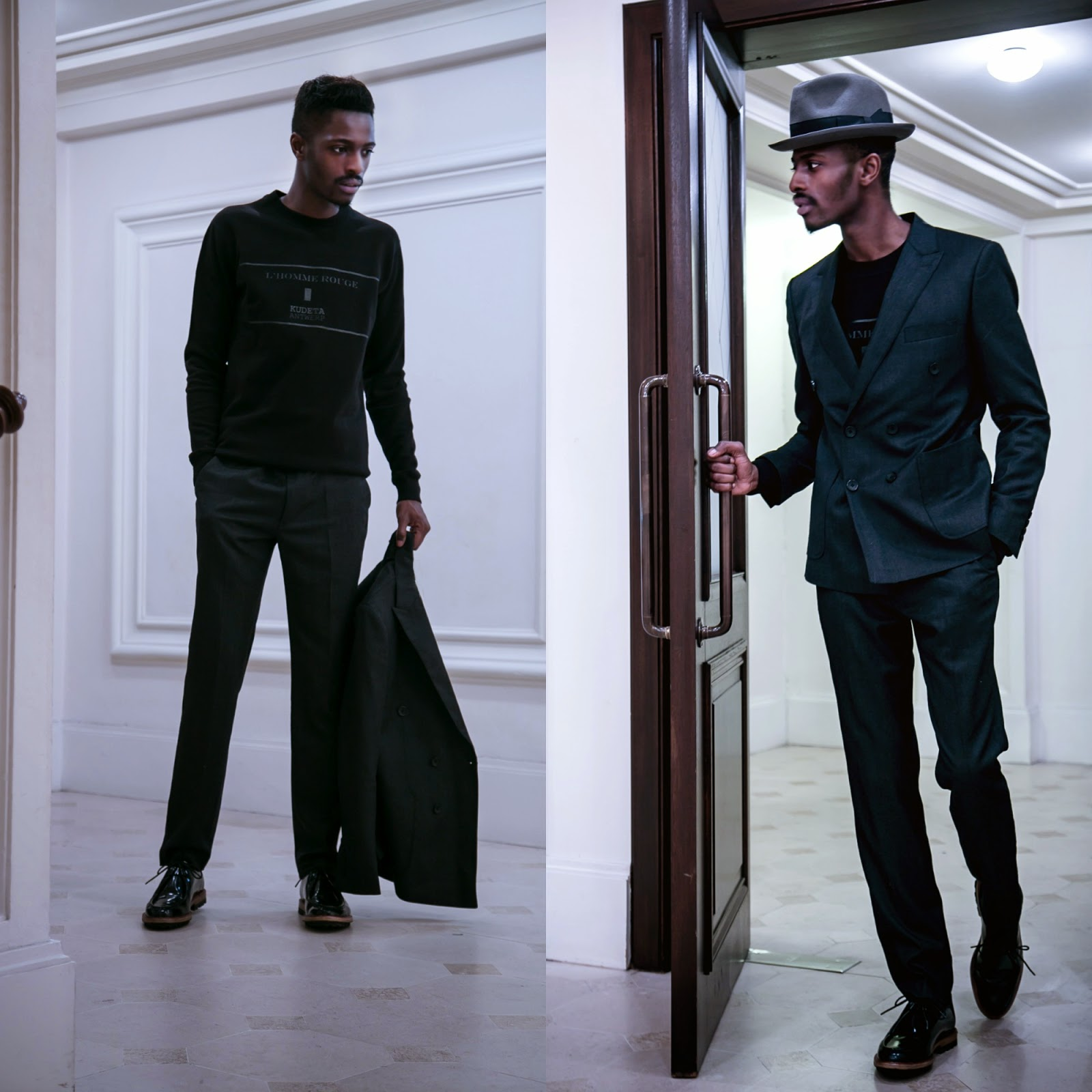 HOW TO CAHSMERE SUIT BLACK SWEATER SHOES