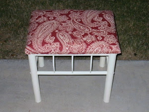Red Shabby Footstool  *SOLD*