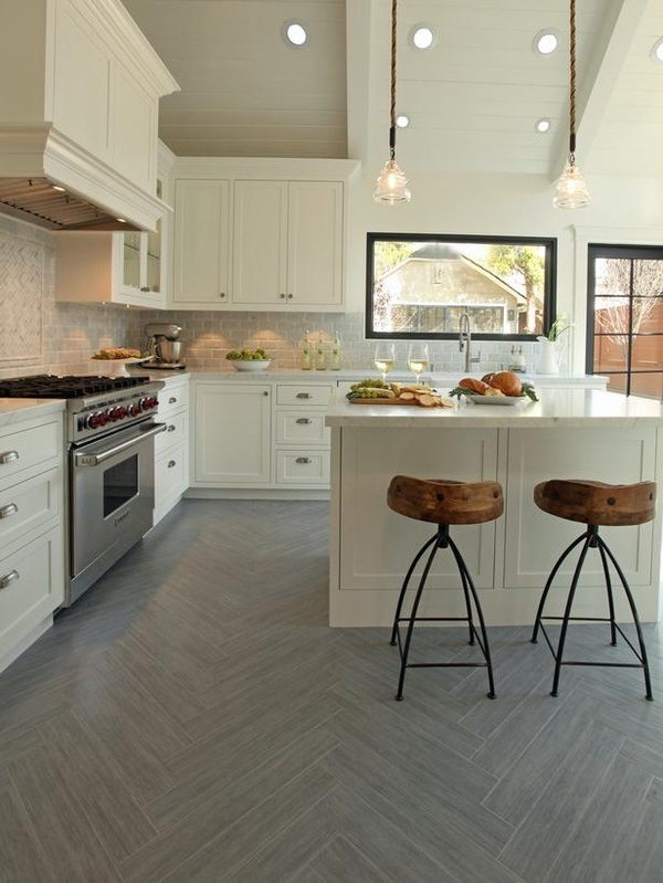 Herringbone make your everyday tile extraordinary cozy for Grey kitchen floor tiles ideas