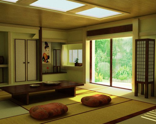 Japanese tatami rugs at home