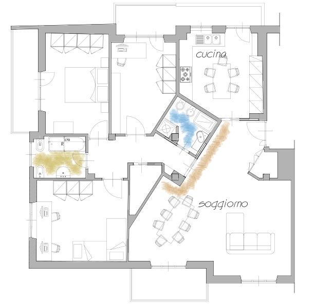 Disposizione divani nel salone idee per il design della casa for Disposizione della casa aperta
