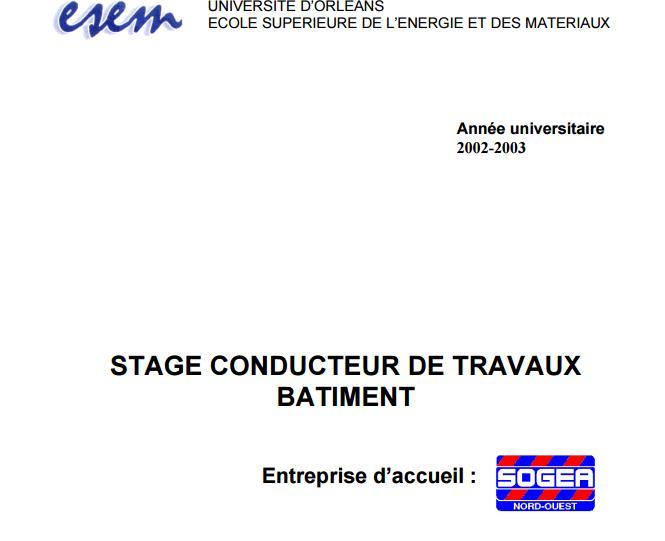 Exemple rapport de stage conducteur travaux batiment for Cours construction batiment pdf