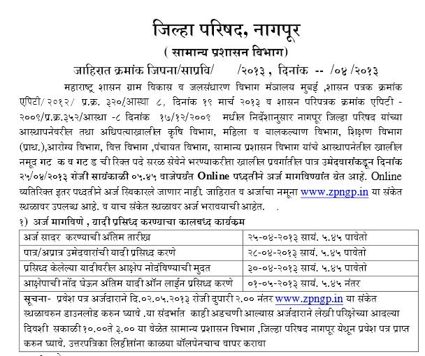 ZP Nagpur Recruitment Details 2013