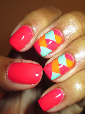 Color Club, Poptastic, neon, bright, braided, pink, turqouise, orange, April Tri Polish Challenge, Day 2, nails, nail art, nail design, mani