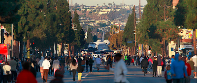Space Shuttle Endeavour on its way through the streets of L.A.