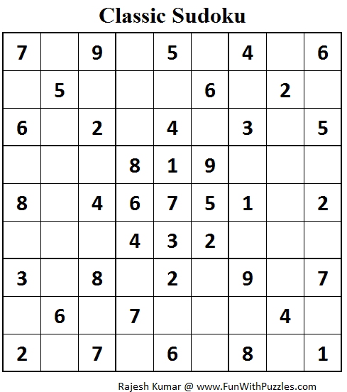Classic Sudoku (Fun With Sudoku #83)