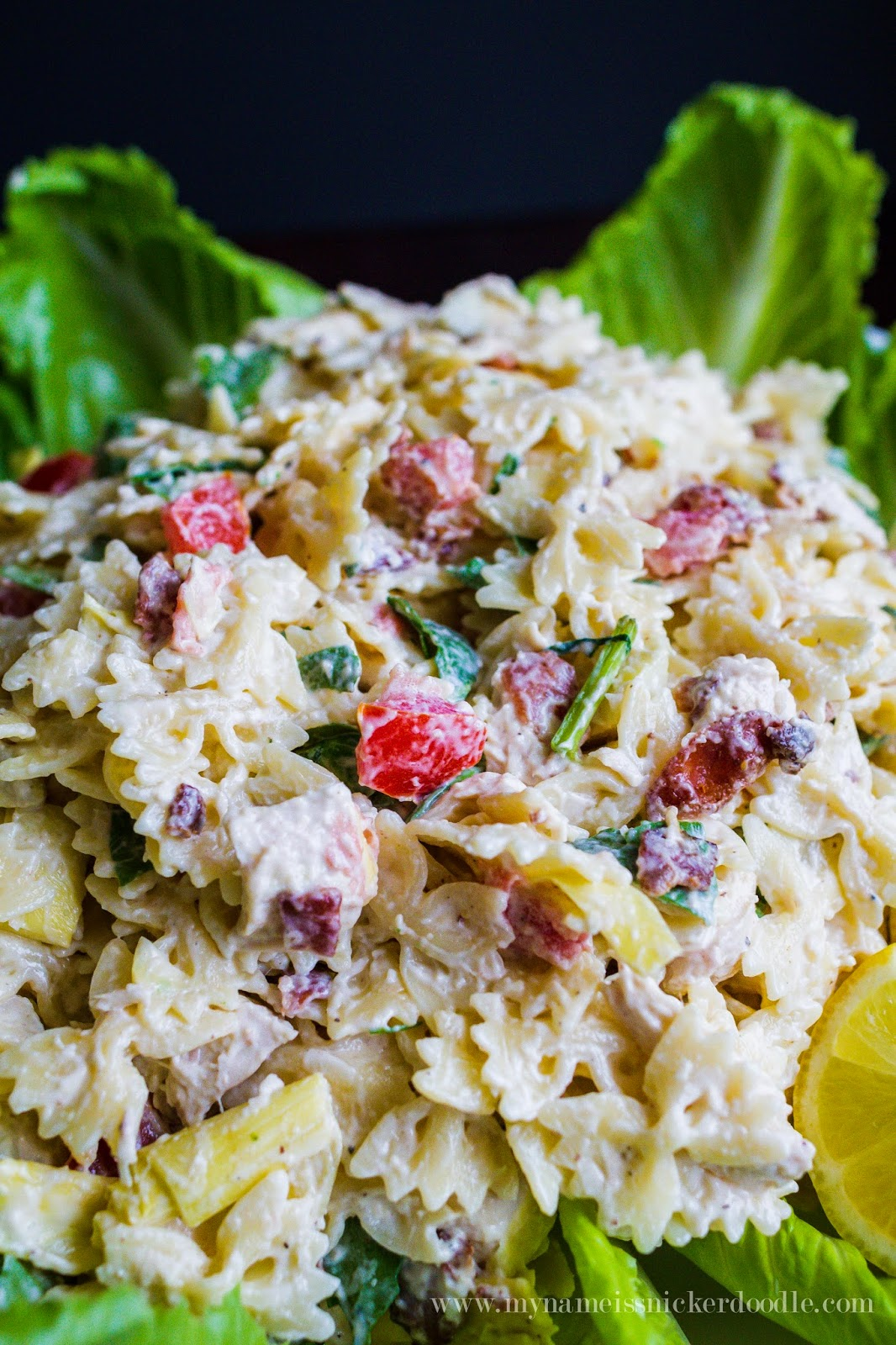 A yummy pasta salad recipe made with chicken, bacon, artichokes and tomatoes!  |  My Name Is Snickerdoodle