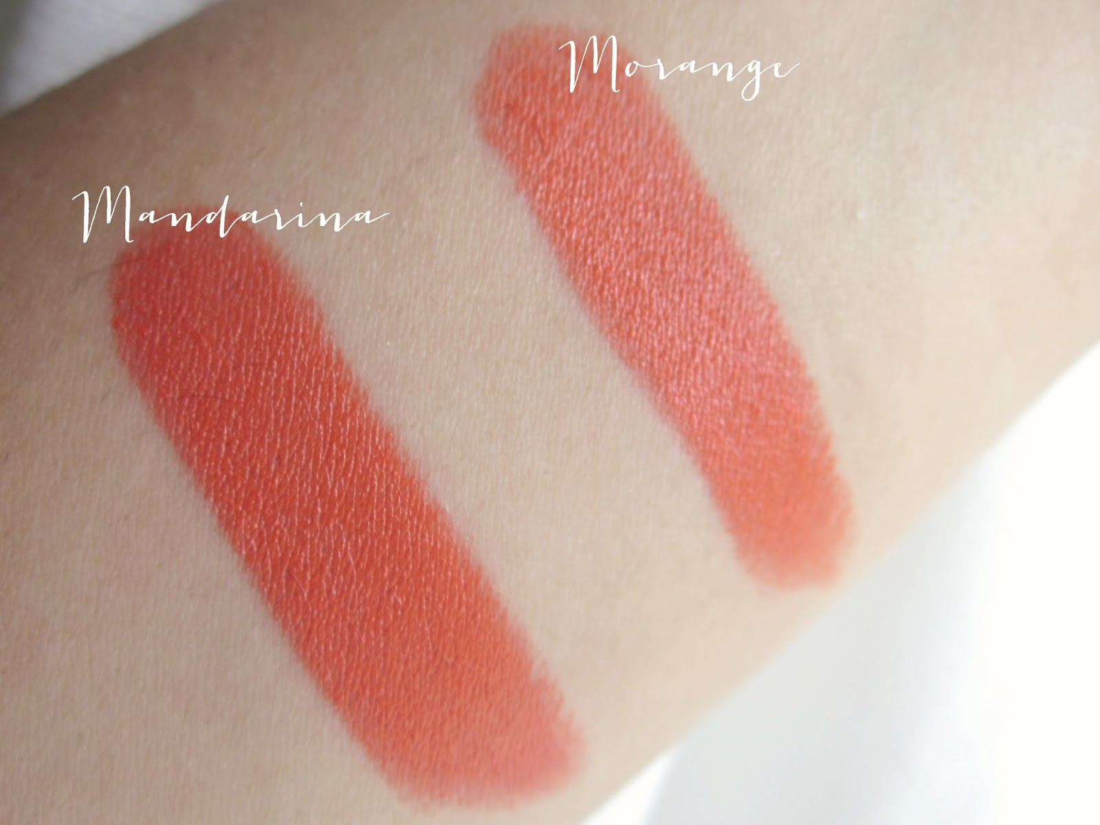 Bellapierre mandarina lipstick and MAC morange swatch