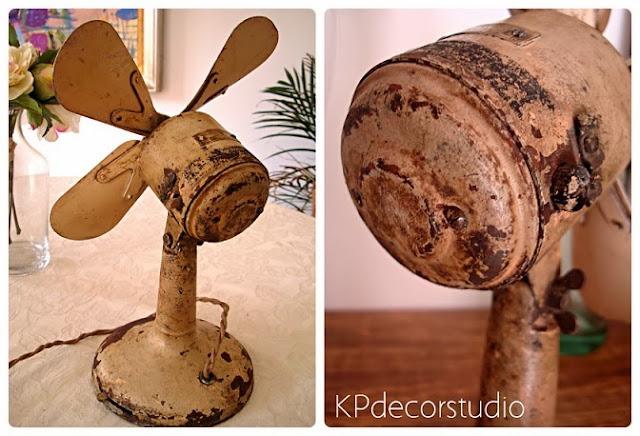 Ventilador vintage antiguo para decoración. Venta de objetos de decoración antiguos estilo vintage e industrial