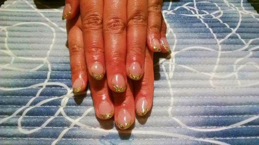Clear acrylic pink cover acrylic filled custom gel mix of fortune gold citrine green and dot gold glitz with gel topcoat.jpg