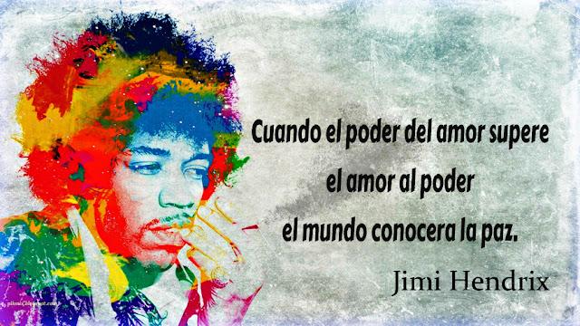 Tarjeta para facebook con frase de Jimmi Hendrix, El poder del amor