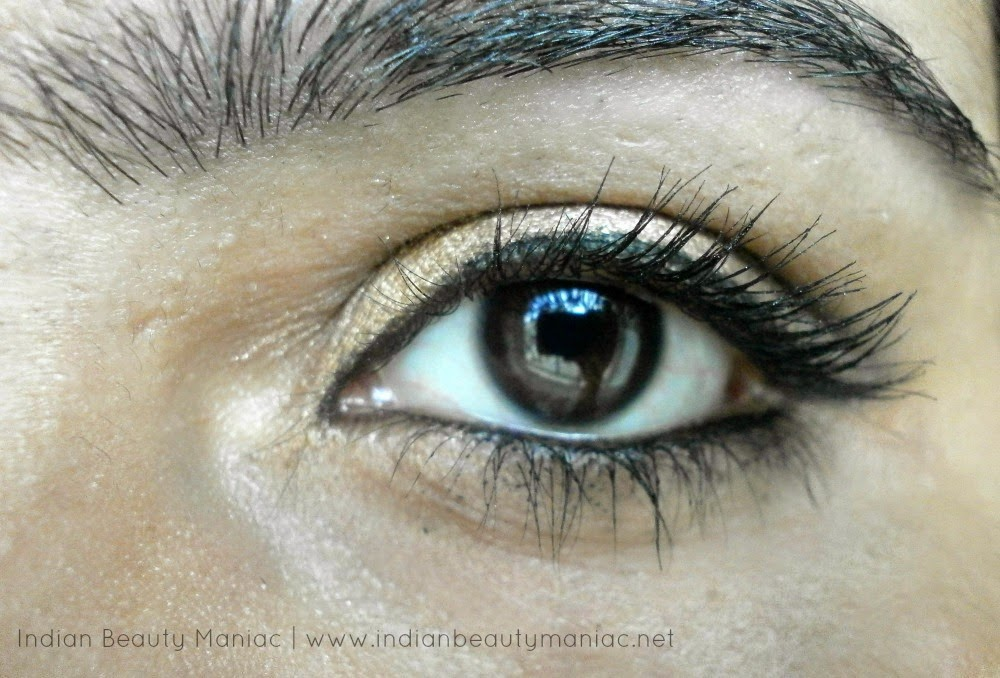 Festive Gold Eye Makeup, Eye shadow, Kryolan Professional, Oriflame, Maybelline, Real Techniques, Eye makeup, Glamorous eye makeup, Sankaranti Makeup, Indian Eye Makeup