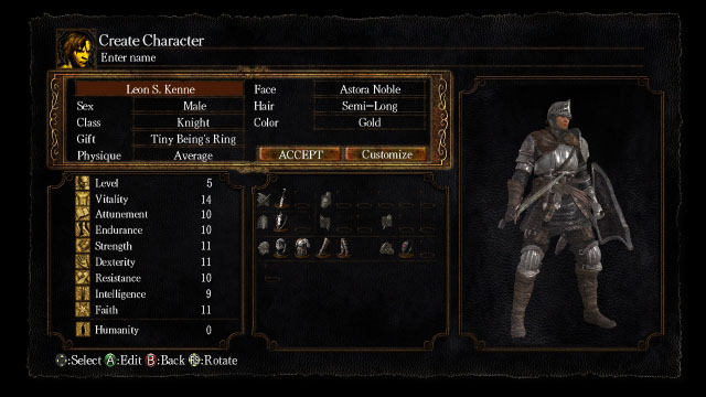 Dark Souls create character screen