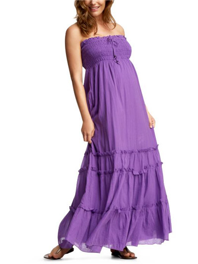 strapless long purple maternity dress