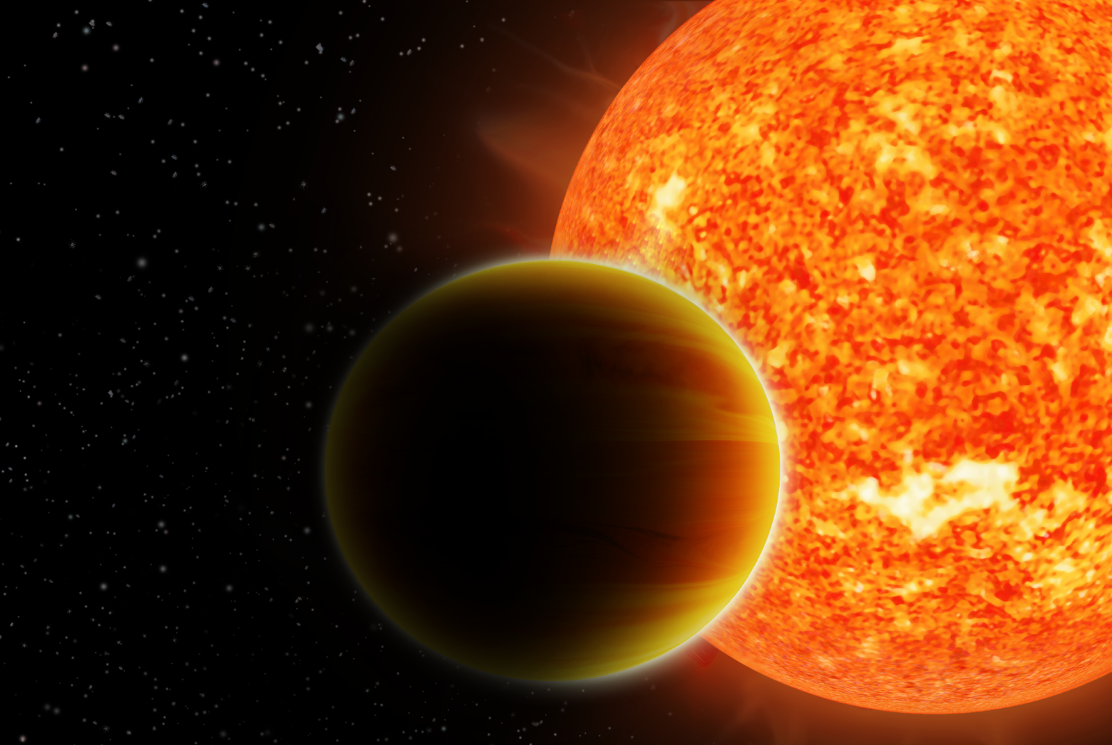 Illustration of a 'hot Jupiter' orbiting a sun-like star. Credit: Haven Giguere, Nikku Madhusudhan