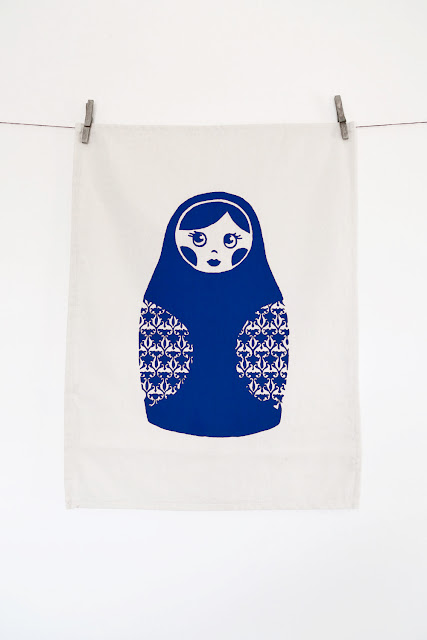 Babushka Screen Print Tea Towel in Royal Blue
